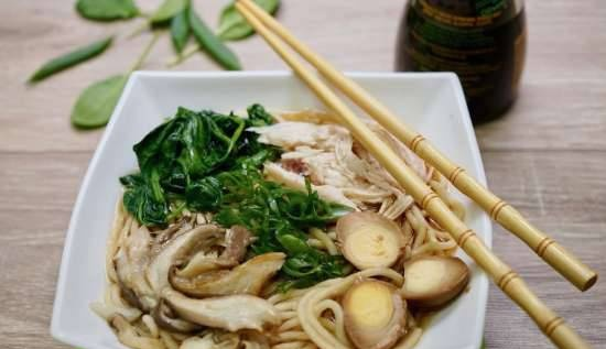 Ramen with chicken, spinach, quail eggs, oyster mushrooms and green onions