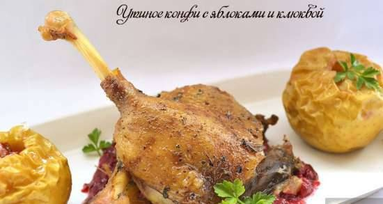 Duck confit with apples and cranberries