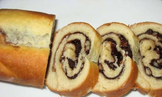 Roll on yeast dough with walnuts and cocoa