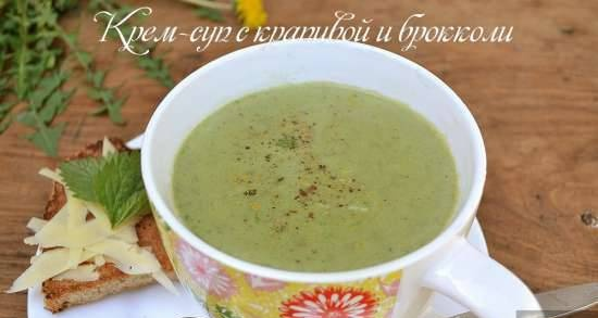 Creamy soup with nettle and broccoli
