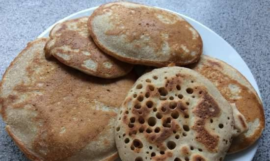 Buckwheat pancakes without eggs and milk