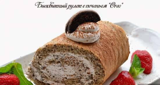 """Biscuit roll with """"Oreo"""" cookies"""