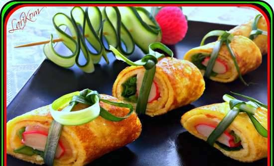 Omelet roll with crab sticks