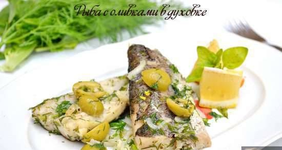 Fish with olives in the oven