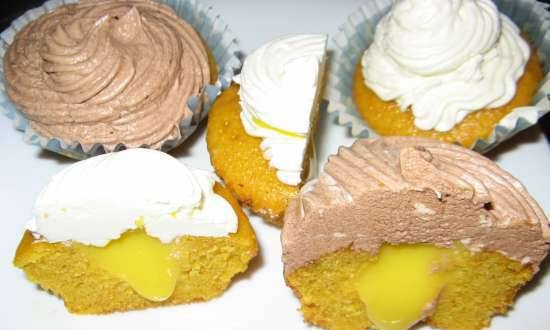Carrot cupcakes with lemon curd and two types of cream