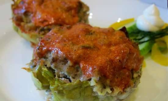 Lazy stuffed cabbage rolls with mushrooms in muffin / cupcake tins