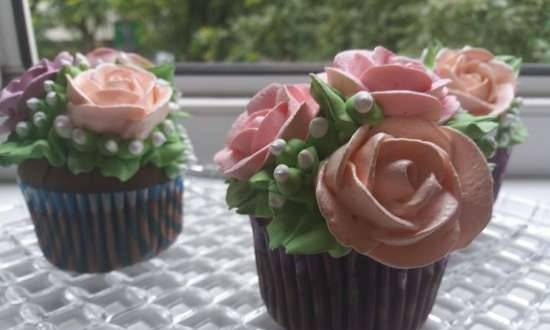 """Chocolate cupcakes """"Summer bouquet"""""""