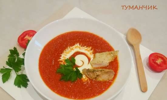 Baked pepper and pickled tomato puree soup with fried chicken