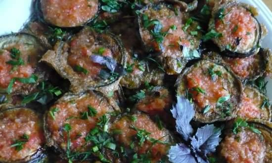 Fried eggplant with spicy sauce