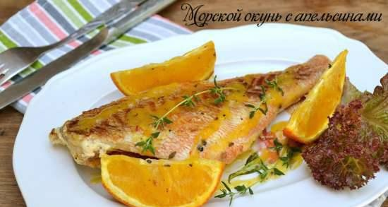 Sea bass with oranges