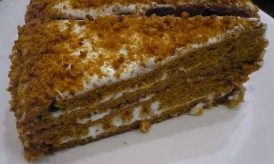 Quick honey cake from bulk dough (baking options in different devices)