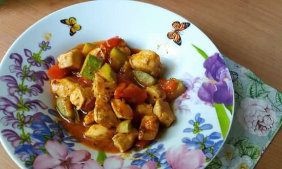 Delicate summer lecho with chicken and zucchini in a slow cooker
