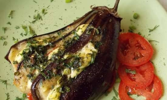 Eggplant baked in the oven with cheese and tomatoes in a different manner