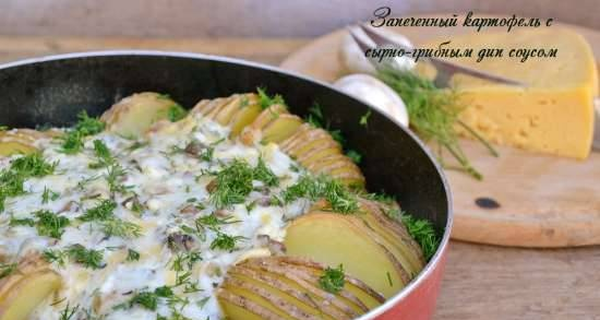Baked potatoes with cheese and mushroom dip sauce
