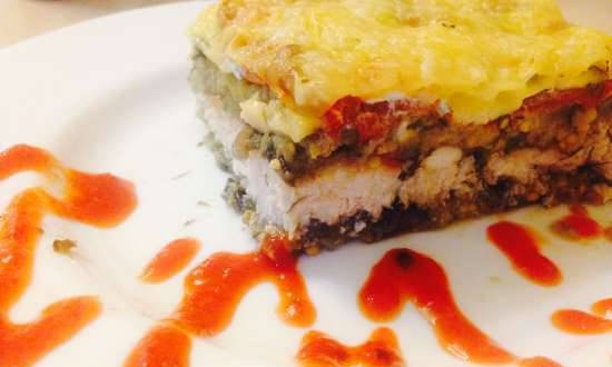 Chicken breast baked in eggplant with tomatoes