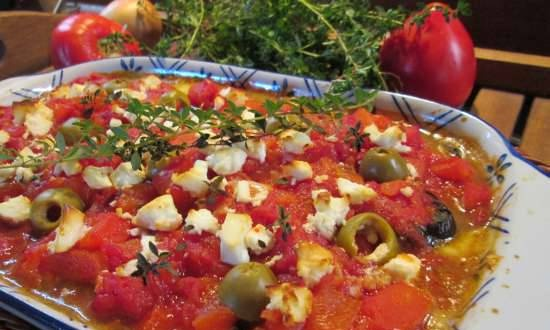 Eggplant baked with tomatoes and feta