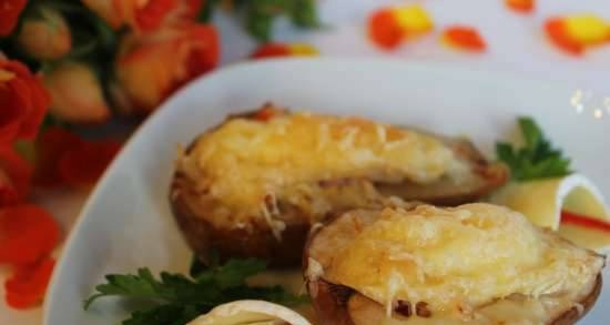 Pear baked with crab and cheese