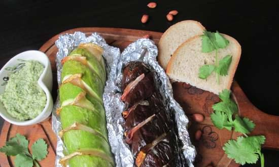 Grilled zucchini and eggplant stuffed with bacon