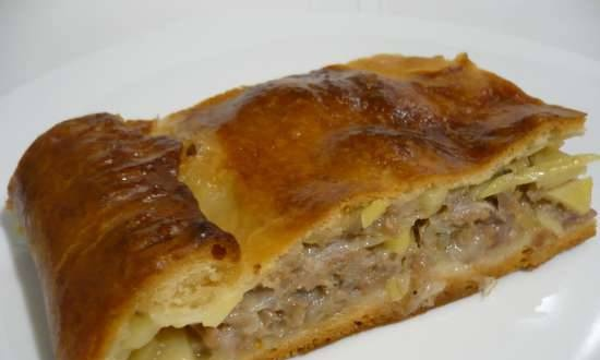 Meat pie with pseudo-layered whey dough