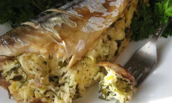 Baked mackerel stuffed with cheese and eggs