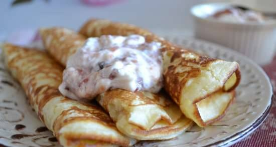 Thick pancakes with rice flour, curdled milk