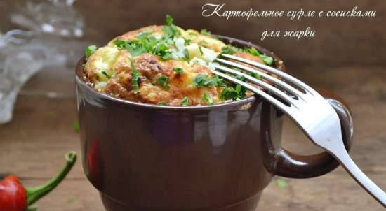 Potato soufflé with sausages for frying