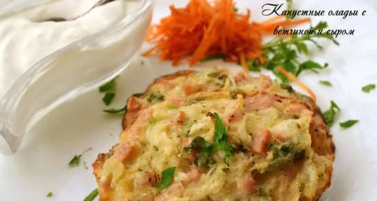 Cabbage pancakes with ham and cheese