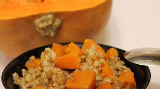 Spelled porridge with pumpkin and garam masala, simmered in the oven