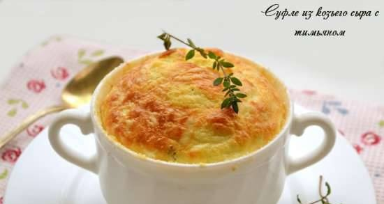 Goat cheese soufflé with thyme