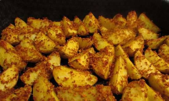 Potatoes baked in breadcrumbs with spices