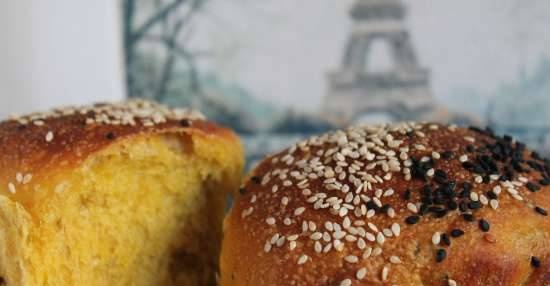 Sesame milk buns with pumpkin and apple with liquid yeast