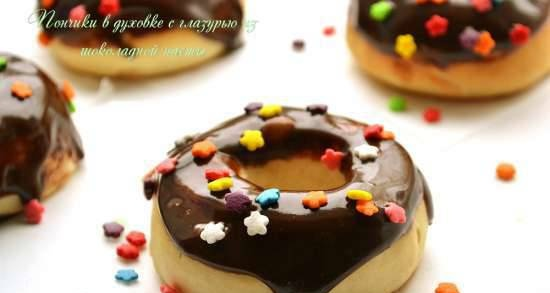 Donuts in the oven with chocolate paste icing