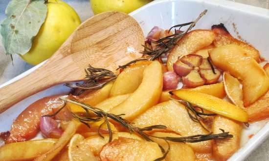 Quince baked with garlic and rosemary