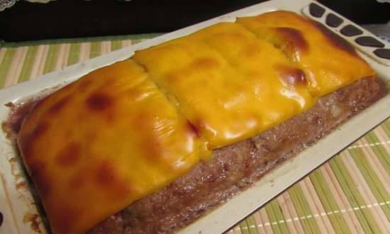 Meat loaf with colored peppers