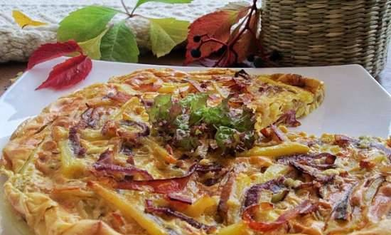 Casserole with potatoes, bacon and red onions