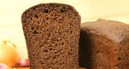 Rye-wheat shaped bread on a big bag (with liquid yeast) with caraway seeds and carrot fiber