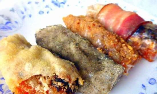 Rice paper rolls with chestnuts, dried fruits in various breading and without