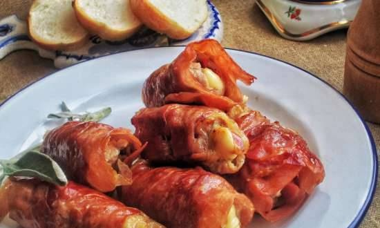 Meat rolls in wine and double prosciutto