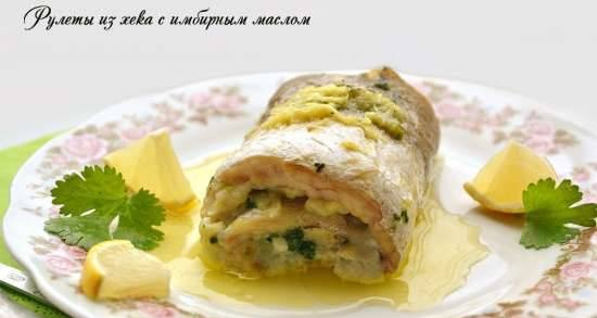 Hake rolls with ginger butter