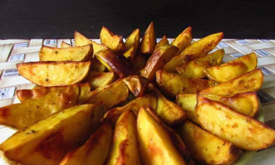 Golden potatoes baked in a bouquet of spices