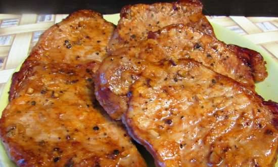 Juicy pork loin steaks (no beating, in the oven)
