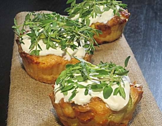 Muffins with zucchini and feta cheese for a snack