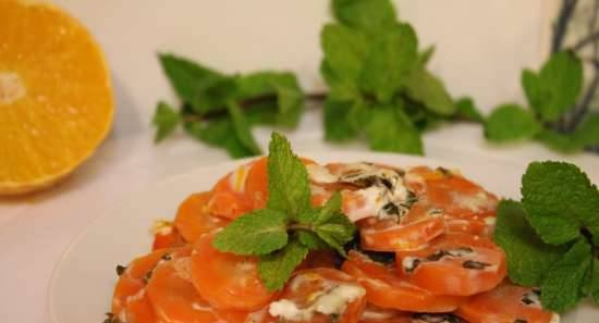 Carrots baked in mint-coconut sauce