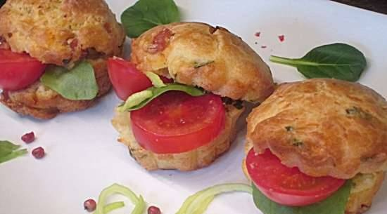 Muffins with ham and sun-dried tomatoes