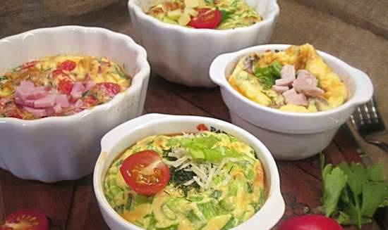 Portion omelets in the oven with different fillings
