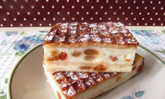Cottage cheese casserole with apple and raisins in waffle cakes