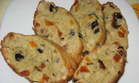Cupcake with dried apricots, prunes and peanuts