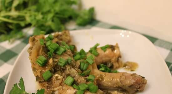 Chicken baked in white wine with green onions