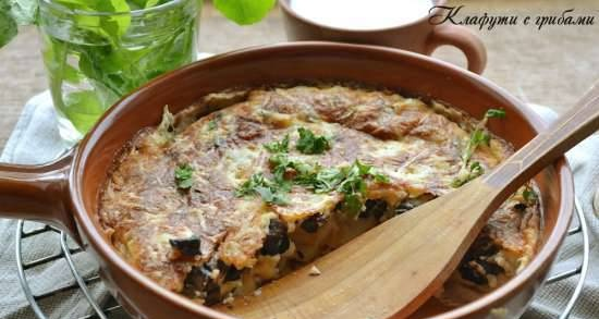 Clafoutis with mushrooms