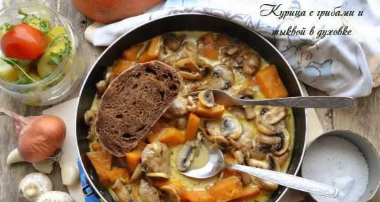 Chicken with mushrooms and pumpkin in the oven